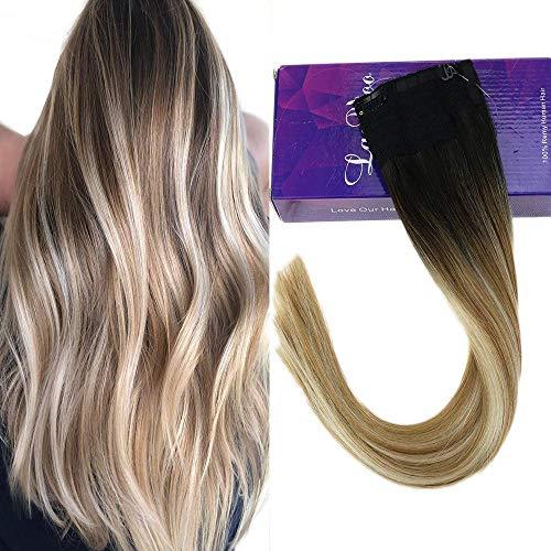 Laavoo 20pollice halo extension capelli veri con filo invisible 100gr secret hair extension liscio (nero a il marrone piu chiaro misto bionda platino #1bt10p60)