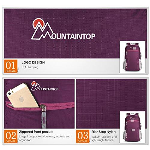 Mountaintop 25L Zaino Pieghevole leggero Packable per i viaggio, il Campeggio, Trekking, Scuola, Sport, Ultraleggero e Pratico viola profondo