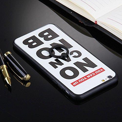 Phone case & Hülle Für iPhone 6 Plus / 6s Plus, geprägte schwarze Streifen und Thom Browne Words Pattern TPU Stoßfänger-PC Schützende rückseitige Abdeckungs-Fall mit Ring-Halter-Standplatz ( SKU : Ip6 Ip6p1032l