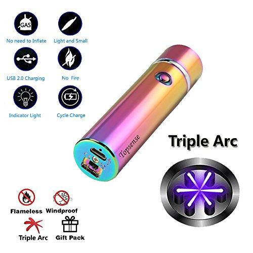 Topsense USB Elektronisches Feuerzeug Aufladbar Lichtbogen Triple Lichtbogen Feuerzeug Für Pfeifen Zigaretten Zigarren und Camping