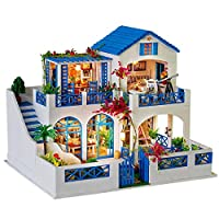 SENCILLON DIY Wooden Dolls House Handcraft Miniature Kit- Blue House Model and Furniture 16.38 * 13.26 * 12.48 Inch