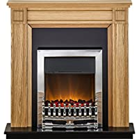 Adam Georgian Fireplace Suite in Oak with Blenheim Electric Fire in Chrome, 39 Inch