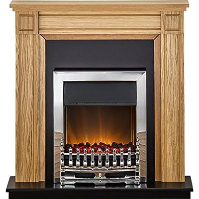 Adam Georgian Fireplace Suite in Oak with Blenheim Electric Fire in Chrome, 39 Inch