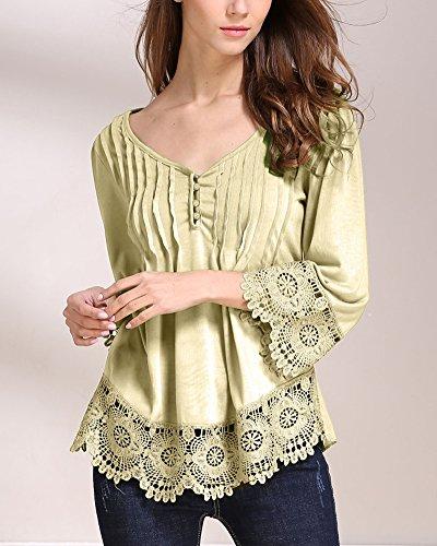 PengGeng Donna Elegante Sciolto Casual Collo V T Shirt Manica Lunga Magliette Giallo