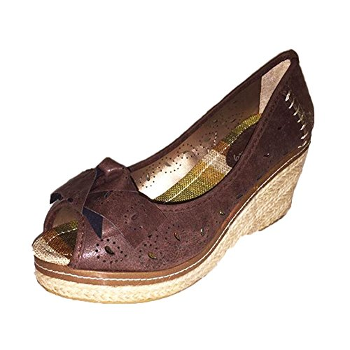 Brown Peep toe wedge heel court shoes with bow front