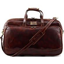 Tuscany Leather Bora Bora Sac à roulettes en cuir - Petit modèle Marron foncé XNvogePr