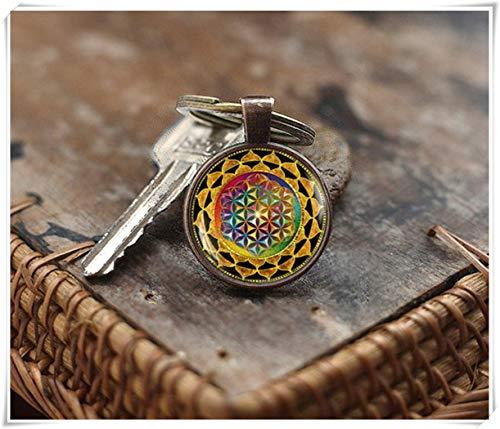 We Are Forever - Llavero con Mandala Colorido, diseño de Flor de la Vida, Llavero de geometría, Llavero de Yoga, Mandala Espiritual