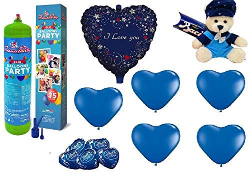 Zeus party kit set san valentino blu-bombola di gas elio da 35 palloncini, 1 palloncino i love you 20 palloncini blu a cuore, peluche con baci perugina e 5 cioccolatini lindt omaggio