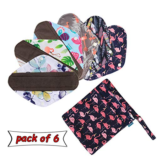 Teamoy Wiederverwendbare Binden, 6 Stück Slipeinlagen Waschbar, Baumwolle Menstruation Pads mit EXTRA Waschbare Tasche, (Klein-20,5 cm / 8 Zoll) -