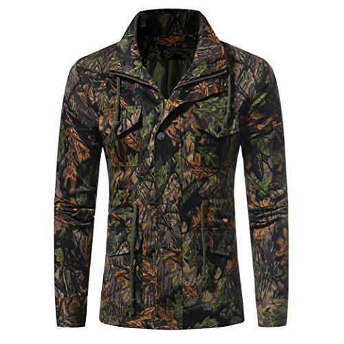 Herren WinterMantel FORH men's Klassisch Vintage Langarm Anzugsjacke Casual Camouflage Print Blazer Jacke Slim Fit Party Business Knopf Anzugjacke Reverskragen Trenchcoat Mantel (Grün, XXXL) (Leinen-mischung-jacke)
