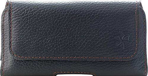 honju horizon Echt Leder Gürteltasche Etui Hülle für LG G7 Fit, V35 ThinQ, Q7+, K10/K8 (2017 und 2018) (Gürtelschlaufe, Rindsleder, Magnetverschluss) - Schwarz
