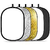 Neewer® 5en 1de Oval 120x 180cm Plegable Profesional Multi de Disco Reflector de luz Permeable con Superficie, Plata, Negro, Oro, Color Blanco