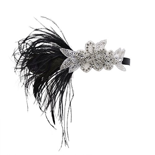PrettyGuide Femme Retro Annees 20 Casque Crystal Plume Gatsby Bandeau Charleston Noir