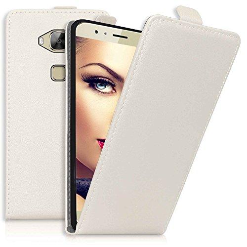 mtb more energy® Flip-Case Tasche für Huawei G8 (Rio) | Huawei GX8 (5.5'') | Weiß | Kunstleder | Schutz-Tasche Cover Hülle