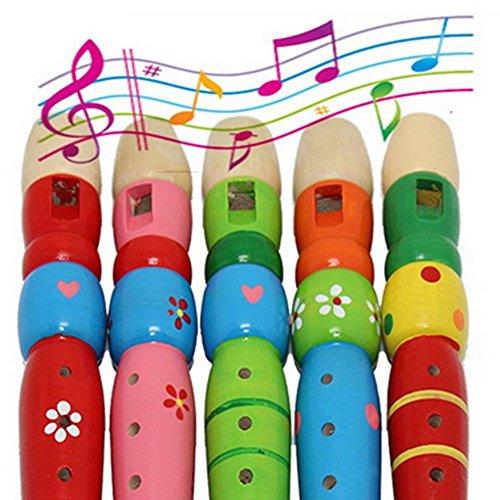 SwirlColor 1 Stück 6 Loch-hölzerne Bunte Klarinette Piccolo Flöte Spielzeug Musikinstrument für Kinder Kinder