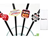 Coco&Bo - Fabulous Las Vegas Paper Straws - Casino Poker Night Card Party - James Bond Theme Decorations
