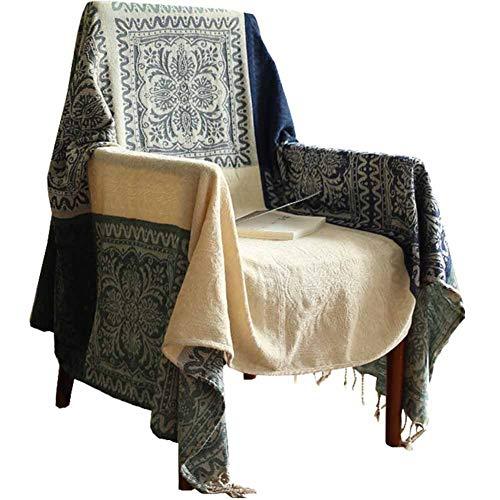 Premium Chenille Sofa Abdeckung Retro Nähte Design Stoff Weben Sofa Decke geeignet für Outdoor-Reisen Damen Schal Picknick Kinder Hund Haustier krabbeln Matte,Blue&Beige,150 * 190CM -