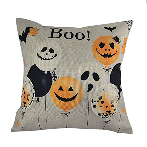 LANDFOX Kissenbezug Halloween Kissenbezüge Leinen Sofa Ballon Geister Home Decor Leinenkissenbezug Kissenhülle 45x45 cm Kissenbezüge Lendenkissen Sofa Haus Zimmer