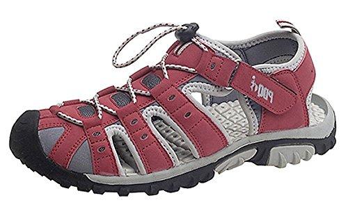 Damen Trekking-Sandalen von PDQ, Knebelknopf und Klettverschluss, Rot - rot / grau - Größe: 43