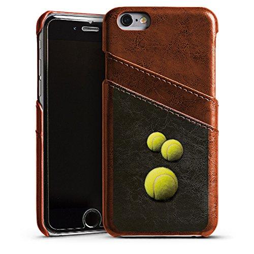Apple iPhone 5 Housse étui coque protection Tennis Ballons Ballons Étui en cuir marron