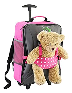 Cabin Max Bear Childrens luggage carry on trolley suitcase - Pink Spotty