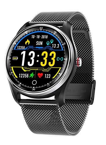 HAMSWAN MX9 EKG smart Watch blutdruck PPG blutdruckmessgerät Multi-Languages IP68 wasserdichte smartwatch Uhr für männer Frauen(Schwarzes Edelstahlarmband) - Führen Ekg-kabel