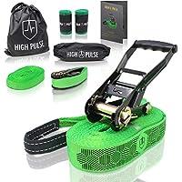 High Pulse Slackline Incl. Instrucciones | 15 m – Set de Slackline (12,5 cinta + 2,5 m cuerda en tensor) con tensor, Protección de tensores, Cuerda auxiliar, Protectores de árbol y Bolsa de transporte