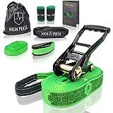 High Pulse® Slackline set incl. manuale istruzioni | 15 m - Fune equilibrio (cinturino da 12,5 m + cinturino cricchetto da 2,5 m), cricchetto + custodia, cavo ausiliario, protezione alberi e borsa