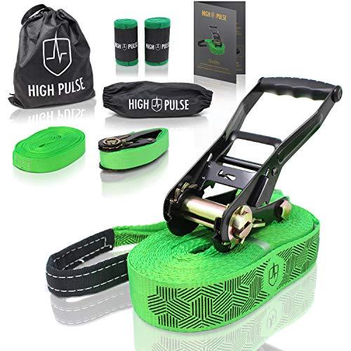 High Pulse® Slackline Set inkl. Poster mit Anleitung | 15 m - Komplettes Slackline-Set (12,5 m Band + 2,5 m Ratschenband) mit Ratsche, Ratschenschutz, Hilfsline, Baumschutz und Transportbeutel