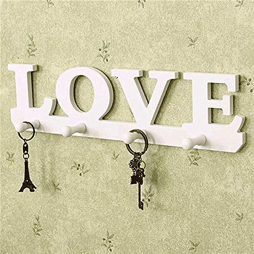 Ruixinshi Liebe Vintage White Coat Hut Schlüsselhalter 4 Haken Kleidung Tasche Robe Schraube Wand Rack Tür Bad Home Decor Aufhänger (Liebe Coat Rack)