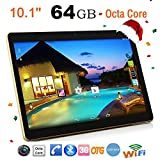 Gusspower Tablet PCs 10,1 Zoll Full HD, 4G + 64G Android 6.0 Dual Sim Dual Kamera Telefon Wifi Phablet, Octa-Core Prozessor, Display 2560x1600 Touchscreen (Schwarz)