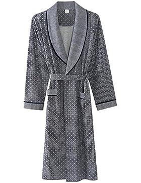 Albornoz de hombre Pijama de algodón/Cómoda túnica cálida/Ropa de casa de otoño e invierno