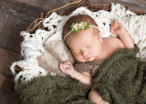 Diademas para bebé con diseño floral, de nailon, elásticas, juego de 3, caqui, Talla única