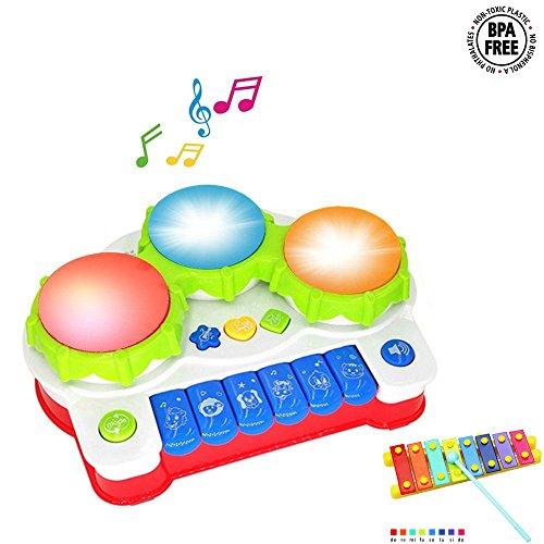 Spielzeug Klavier für Babys und Kinder Keyboard Musikinstrument mit Musik und Lichtern Musikspielzeug Aktivität Klavier und Trommel als Geschenk für Babys und - Baby-trommel