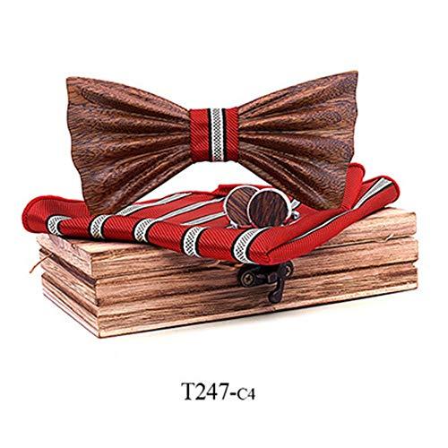 Geprägt Blazer (YAOSHI-Bow tie/tie Krawatten und Fliegen für Massivholz Fliege Kragen Blume Set geprägte handgemachte Fliege Krawatten und Fliegen für (Farbe : 4, Größe : Free Size))