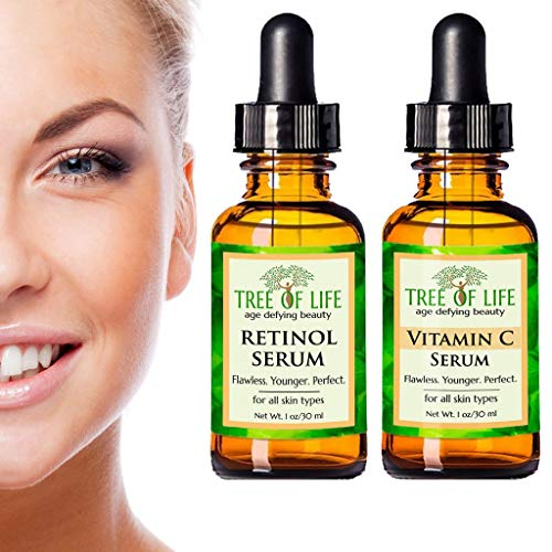Anti Aging Serum Two-Pack - 72% ORGANIC - Vitamin C Serum - Retinol Serum - SATISFACTION GUARANTEED