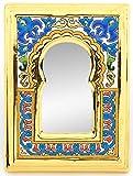 Art Escudellers Specchio Modello 2, Specchio Decorativo di Ceramica da Parete Dipinto a Mano con la Tecnica cuerda seca Oro 24 K (Carati). 15cm x 20cm x 1cm.