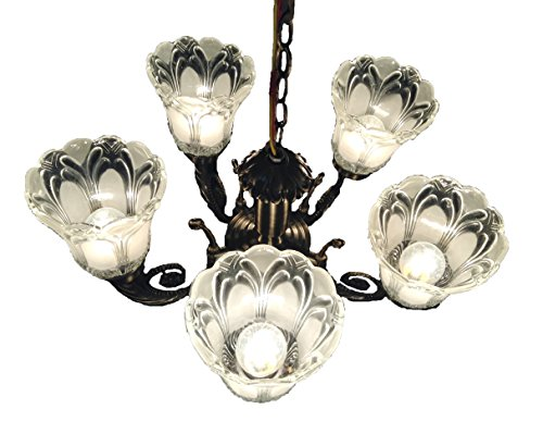 Prop It Up ntique Design Brass 5 Lamps Chandelier, 38x38x25cm (Golden and Brown)
