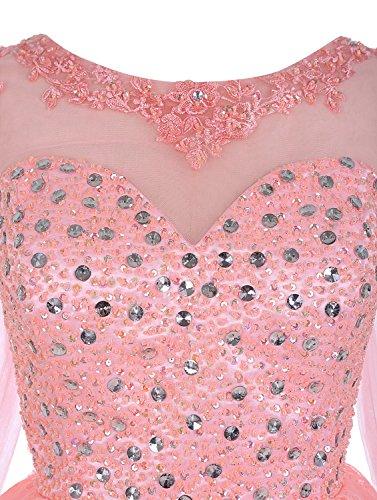 Find Dress Elégant Robe de Bal Mi Longue Princesse Cocktail Pour Mariage Robe Demoiselle d'Honneur Manche Longue Robe de Gala Anniversaire Fête Taille Personnaliser Blush