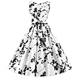 LUOUSE Sommer Damen Ohne Arm Kleid Dress Vintage kleid Junger abendkleid,White,S