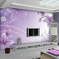 Idea Regalo - Chan-Mei Violet 3D Floral Élégant Papier Peint Personnalisé Grande Murale Mur Dans Le Salon La Chambre Des Vidéos 350Cmx300Cm