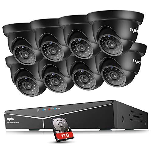 SANNCE Kit Videosorveglianza 1080P Lite DVR TVI 8 Canali 8 Telecamera Sorveglianza Esterno 720P Kit di Sorveglianza H.264 ONVIF Motion Detection P2P Cloud Visione Notturna 1TB HDD