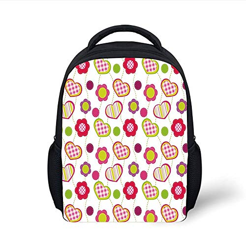 Kids School Backpack Kids,Patchwork Inspired Design Colorful Patterned Flowers Hearts and Dots Retro Girlish,Multicolor Plain Bookbag Travel Daypack Multi Color Patterned