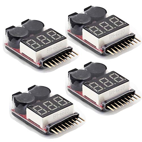 UNIKEL 4Pcs 1-8S Lipo Battery Tester 2IN1 RC Low Voltage Buzzer Alarm for Lipo/Li-ion/LiMn/Li-Fe Battery