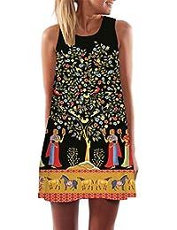 Vestidos Casual,Sonnena Vintage Mujeres Bohemios Verano Suelto sin Mangas 3D Floral Print Bohe Tanque Mini Vestido de Playa Fiesta para…