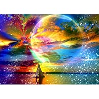 MXJSUA DIY 5D Diamond Painting by Number Kits Full Round Drill Rhinestone Embroidery Cross Stitch Picture Art Craft Home Wall Decor Colored Moon Starry Sky 12x16In