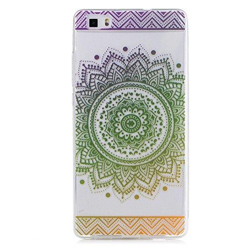 Pour Huawei P8 Lite Case Cover, Ecoway TPU Clear Soft Silicone motifs peints Housse en silicone Housse de protection Housse pour téléphone portable pour Huawei P8 Lite - Fleurs vertes Datura