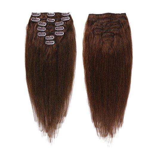 creamily 40,6cm Clip in Remy Echthaar Extensions # 4braun kurz gerade Echthaar Stil für African American Frauen 7Stück 65g (Clip Hair Extensions In African)