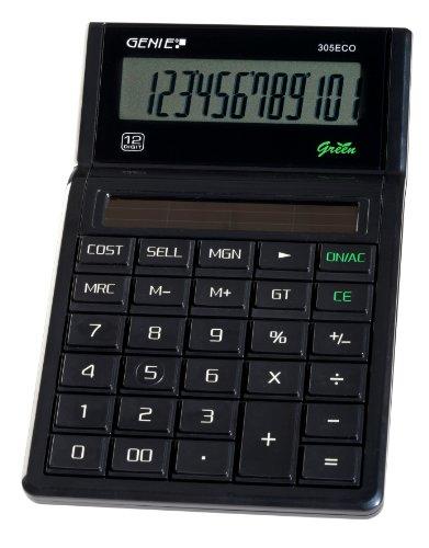 Genie 305 ECO 12-stelliger Tischrechner (Solar-Power, klassisches Design) schwarz