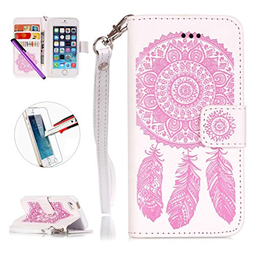 iPhone 6Plus/6S Plus Étui à rabat en cuir PU avec béquille, newstars Sky ou Fêtes Support pliant PU Portefeuille Rose Fleur d'Impression Design de cellules avec emplacements pour cartes pour iPhone 6 Dreamcatcher pink white